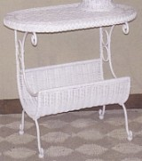 wicker furniture - oval wicker magazine table #4640