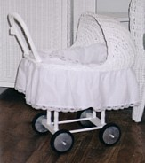 wicker doll push carriage