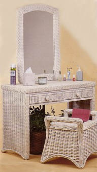 wicker furniture - wicker dressing table with bench #4379