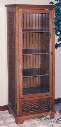 tall wood & wicker cabinet with adjustable shelves