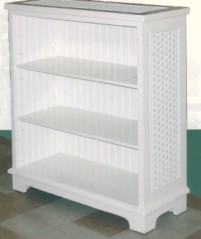 beadboard bookshelf with wicker design
