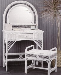 wicker furniture - wicker vanity with bench #4814