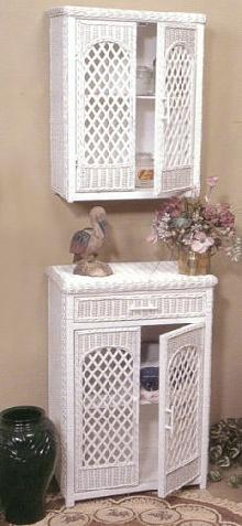 wicker furniture - wall cabinet and floor cabinet