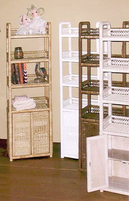 tall wicker shelving with bottom doors