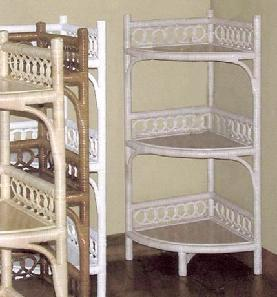 wicker standing corner shelf #4402