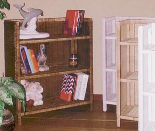 wicker bookshelves