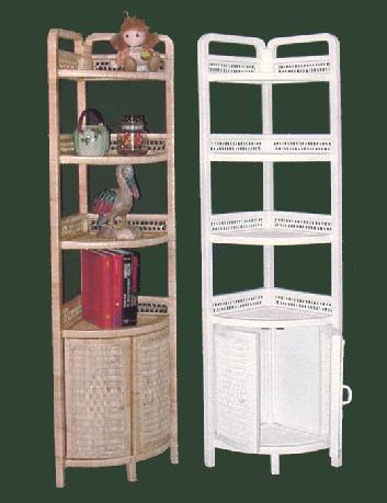 Wicker Bookshelf Bookcase Furniture Rattan Corner Wall