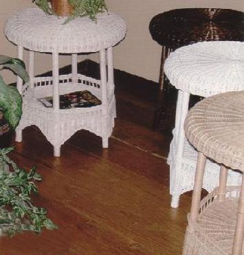 wicker tables - round top wicker lamp tables #4086