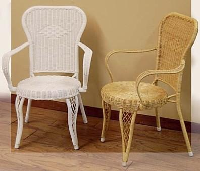 white wicker chair & natural wicker chair