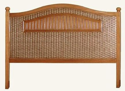 brown wicker headboard